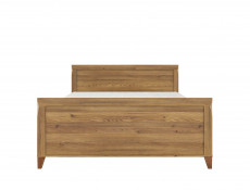 Traditional Light Oak Super King Size Double Bed Frame with High Headboard & Wooden Slats - Bergen