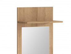Modern Large Wall Mounted Mirror Enhrance Hall hallway Panel with Shelf Riviera Oak - Balder