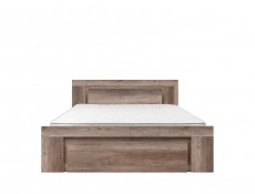 Modern King Size Double Bed Frame Wooden Slats and Headboard Drawer Oak - Anticca