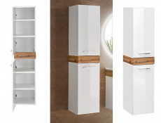 Tall Wall Mounted Bathroom Cabinet Unit Tallboy White Gloss Oak finish - Aria
