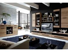 Modern Wide Sideboard Display Glass Cabinet LED Light Sonoma Oak - Fever (S182-KOM1W2D2S/9/15-DSO/CA-KPL01)