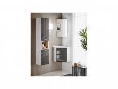 Modern Tall Wall Mounted Bathroom Cabinet Unit Wood Effect Sonoma Grey Gloss/White Mat - Finka