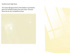 Vanilla Acrylic Cream High Gloss Kitchen Cabinets Cupboards 6 Unit Set 240cm - Modern Luxe