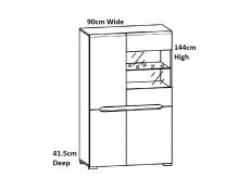 Wide Four Door Glass Display Cabinet Unit with LED Lights in Light Oak Effect Finish - Elpasso (S314-REG1W3D/14/9-DSAJ/DWB-KPL01+LED)