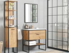 Modern Industrial Tall Bathroom Cabinet Shelving Tallboy Unit Oak Black Metal Frame Loft Style - Brooklyn