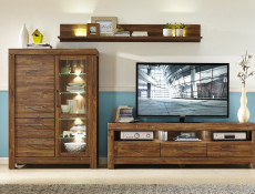 Modern Oak finish TV Unit Storage Drawers TV Cabinet & LED Light 200cm 2m - Gent (RTV3S/6/20)