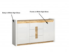 Modern White Gloss Large Sideboard Cabinet Unit with Drawers LED Lights Oak finish top - Alameda