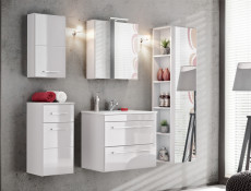 Modern Narrow Wall Mounted Storage Bathroom Cabinet Unit White/White Gloss - Twist