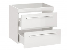 Modern Vanity Bathroom Cabinet Unit with Ceramic Sink White Matt/White Gloss  - Twist