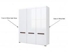 Three Door Triple Wardrobe with Hanging Rails and Storage Shelves in White Gloss and White Matt - Azteca (S205-SZF3D/21/18-BIP/WEM-KPL01)