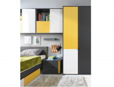 Modern Underbed Versatile Storage Drawer for Single Graphic Bed Kids Bedroom Grey, Yellow and White Finish - Graphic