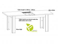 Modern Dining Room Rectangular Extending Extendable Dining Kitchen Table 160 - 240cm Medium Oak Effect - Gent (S225-STO/7/16-DAST-KPL02)