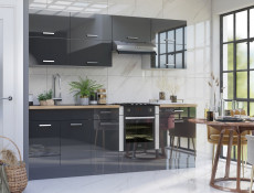 Free Standing Grey Gloss Kitchen Cabinets Cupboards Lift Up Wall Units Set 11 Units 240cm 2400mm  - Modern Luxe (STO-MODERN_LUX_SET-11-UNITS_2.4-GREY)