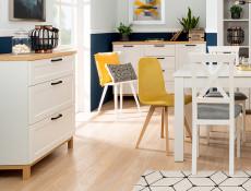Scandinavian Narrow Chest of 3 Drawers Living Room Storage Unit Soft Closing White/Oak - Haga