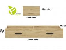 Modern Industrial Storage Bed Set: Euro Single Bed Frame with Solid Wood Slats and Underbed Drawer Belarus Ash - Lara