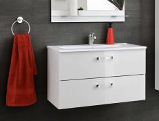 Modern Wall Bathroom Vanity Cabinet & Sink White/White Gloss 60cm - Adel