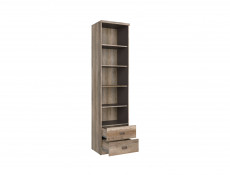Urban Tall Bookcase Deep Storage Shelving Unit with Drawers Oak/Grey - Malcolm (S325-REG2S/50-DAMO/SZW/DAMON-KPL01)