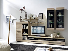 Modern Glazed 1-Drawer Living Room Media Bench TV Cabinet Storage Unit 100 cm Sonoma Oak - Fever