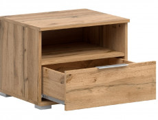 Modern Bedside Cabinet Drawer Storage Unit 50cm Oak effect- Zele