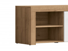Modern Shoe Cabinet Small Lowboard 90 cm 1-Door Storage Unit Oak/White Gloss - Balder