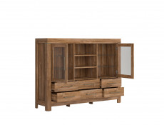 Modern Large Sideboard Dresser Display Glass Cabinet Storage Unit LED Lights Oak - Gent (S228-KOM2W6S/13/17-DAST-KPL01)
