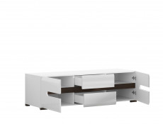 Wide TV Stand Cabinet Unit Drawers White High Gloss / Oak 150cm - Azteca (S205-RTV2D2S/4/15-BIP/WEM-KPL01)