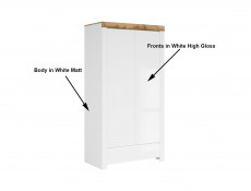 Scandinavian Free Standing 2-Door Double Wardrobe with Drawer White Gloss/Oak - Holten (S397-SZF2D1S-BI/DWO/BIP)