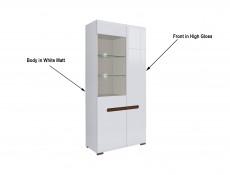Tall Wide Glass Display Cabinet Unit LED Light White Gloss or Oak - Azteca (S205-REG1W1D/19/9-BIP/WEM-KPL01)