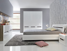 White Gloss Modern Two Door Double Wardrobe with White/Wenge/Black Gloss insert - Azteca Trio