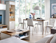 White & Oak Extending Dining Table - Bari (S332-STO/140)