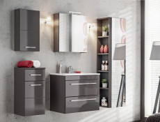 Modern 4-Piece Wall Bathroom Furniture Set Cabinet Storage Units Soft Close Grey/Grey Gloss - Twist (TWIST_820_SET_GREY)