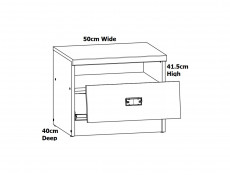 Urban Narrow Bedside Cabinet Side Table with Open Compartment and Drawer 40cm Oak Effect and Grey Finish - Malcolm
