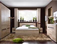 Compact Sideboard Cabinet Storage Unit Four Doors Shelves in Light Oak Effect finish - Elpasso