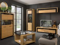 Modern Coffee End Table Oak Wood Veneer Black Gloss with Storage Shelf - Arosa