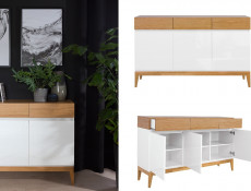 Living Room 3-Piece Furniture Set Storage Units Wood White Gloss Oak - Kioto