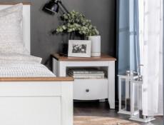 Classic White Gloss Acacia Wood Bedside Cabinet Bedroom Furniture Storage - Kalio (S423-KOM1S-BIP/ACZ/BIP-KPL01)