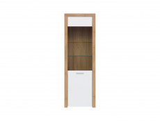 Modern Tall Glass Fronted 1-Door Display Cabinet LED Storage Unit Oak/White Gloss - Balder