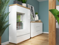 Modern White Gloss / Oak finish Display Cabinet Glass Tall Shelving Unit with LED Light - Erla