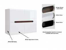 White High Gloss Square Compact Sideboard Cabinet Unit with White Gloss/Black Gloss/Wenge Dark Wood Effect Insert - Azteca Trio