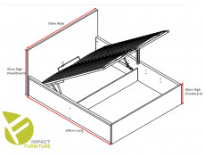 Modern Oak Finish Ottoman King Size Bed Frame with Gas Lift Up Storage Compartment in Oak Wotan - Tetrix (S442-LOZ/160/B-DWO-KPL01)