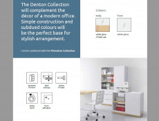 Modern White Gloss & Oak Compact Study Home Office Desk 100 cm Scandi Style - Denton (S416-BIU/100-BIP/DP-KPL01)