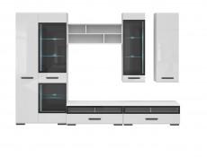 Modern White Wall Mounted Open Display Cabinet Shelf Shelving Unit with Black Insert 100cm - Assen