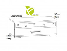 Modern White Gloss Media Bench TV Cabinet Entertainment Glass Drawer Unit 100 cm - Assen