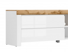 Scandinavian Large TV Stand Media Table 2 Drawer Cabinet Unit 156 cm White Gloss/Oak  - Holten