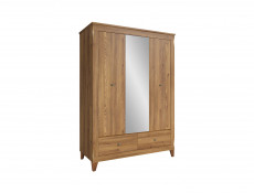 Traditional Three Door Wardrobe with Mirror door in Oak finish - Bergen (SZF2D1M2S)
