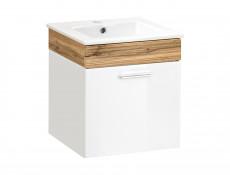 Nowoczesna wisząca szafka pod umywalkę biały połysk szerokość 50 cm - Aria