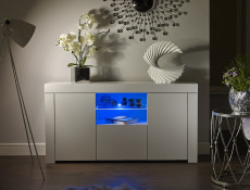 Modern White High Gloss Furniture Set with Blue LED Lights: Glass Sideboard Lowboard & Bookcase Display Cabinet with Glass Shelving - Lily