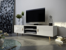 Viva - (Sweden 2) - Retro Nordic TV Unit White Gloss Oak