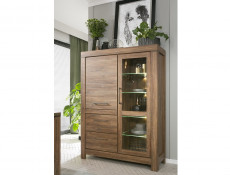 Modern 115cm Wide Display Glass Cabinet Storage Unit LED Lights 2 Doors 2 Drawers Medium Oak Effect - Gent (S228-REG1W1D2S/16/12-DAST-KPL01)