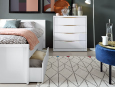 Modern Underbed Storage Drawer for Bed Frame in White Gloss - Pori